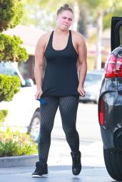 Ronda Rousey at a Gym and Then Getting Gas in Los Angeles, March 2016