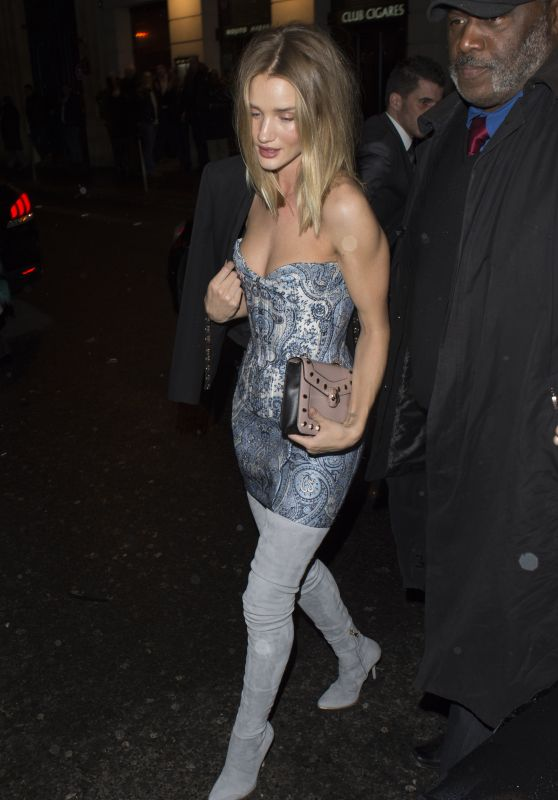 Rosie Huntington-Whiteley Night Out Style - Leaving the L'Arc Nightclub in Paris 3/3/2016