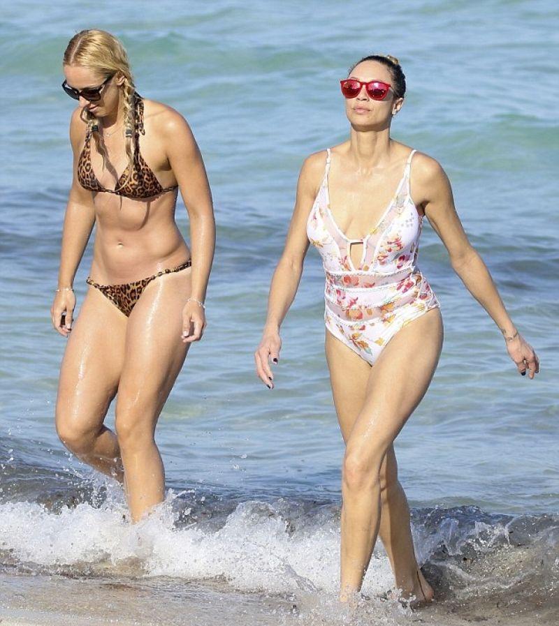 Sabine Lisicki In Leopard Print Bikini On The Beach In