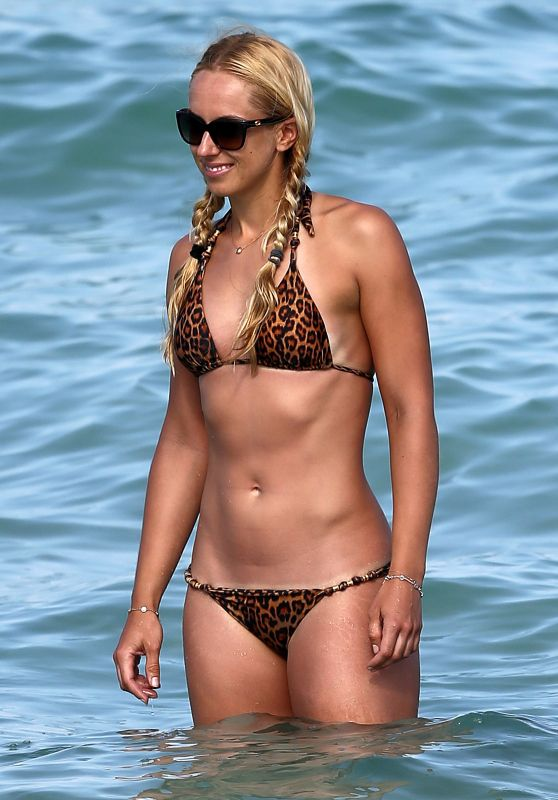 Sabine Lisicki in Leopard Print Bikini on the Beach in Miami, March 2016