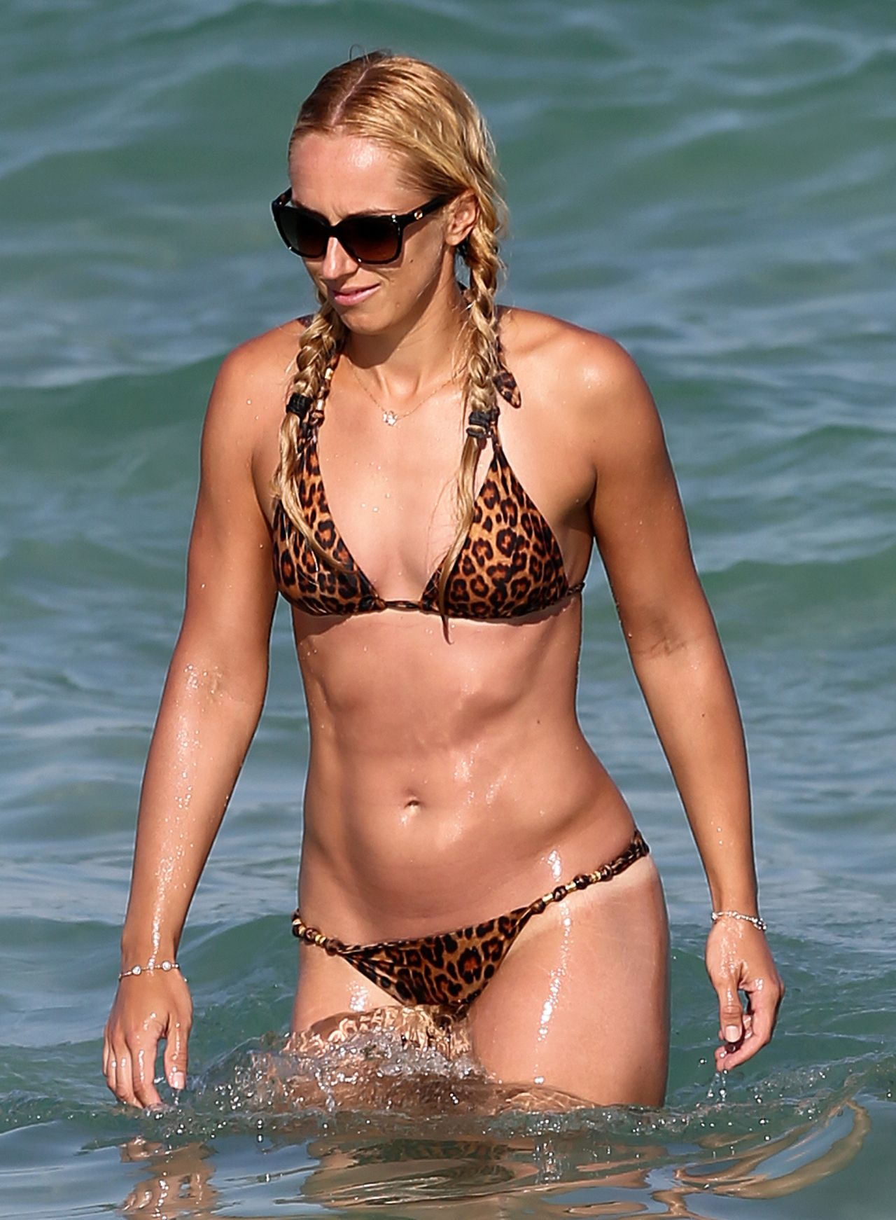 Sabine Lisicki In Leopard Print Bikini On The Beach In -8695