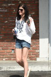 Selma Blair Leggy in Jeans Shorts - Out in LA, 3/02/2016