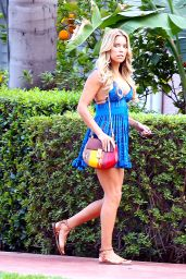 Sylvie Meis Leggy in Blue Drees - Walking Arround Her Hotel in Beverly Hills, February 2016