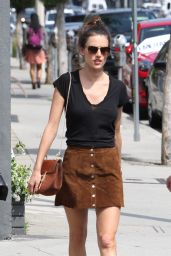 Alessandra Ambrosio in Mini Skirt - Shopping in Los Angeles, CA 4/13/2016
