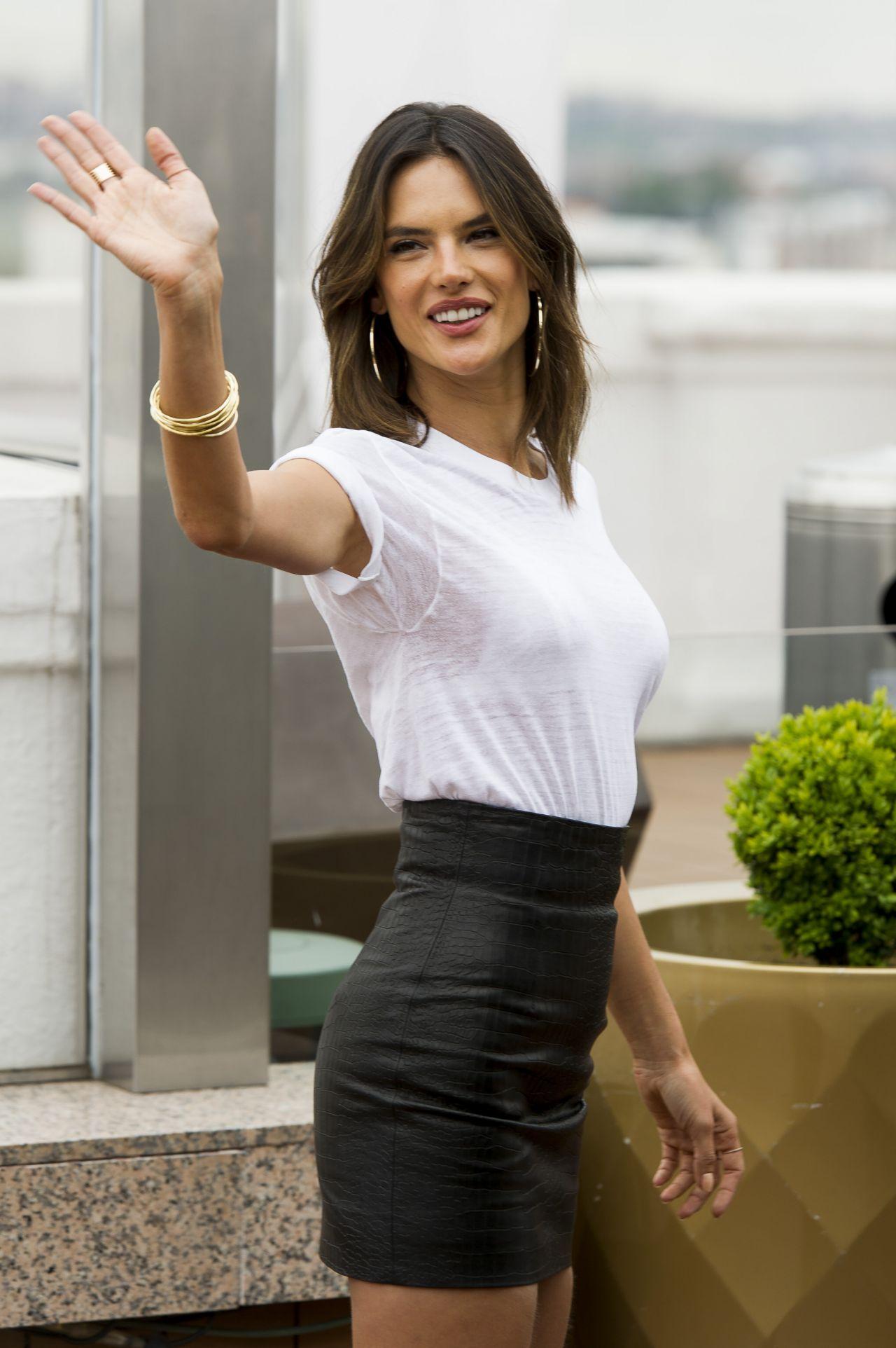Alessandra Ambrosio Wearing A Miniskirt Presents Xti