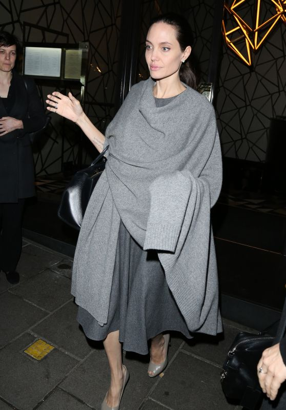 Angelina Jolie Night Out Style - Leaving Quaglino