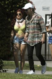 Ariel Winter in Jeans Shorts - Leaving a Hotel at Coachella in Indio, CA 4/23/2016
