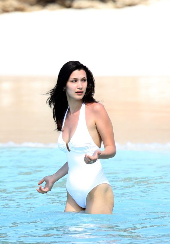 Bella Hadid in a Swimsuit - Beach in St. Barts 4/2/2016
