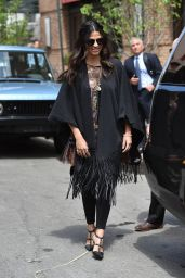 Camila Alves in a Fringe Poncho - Steps Out in Tribeca 4/27/2016