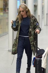 Cara Delevingne Travel Outfit - at The Eurostar Terminal in London 4/22/2016