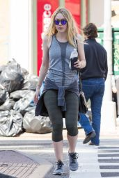 Dakota Fanning in Leggings - Out in New York City 4/20/2016