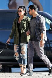 Demi Lovato in Ripped Jeans - at a Cafe Habana in Malibu 4/16/2016