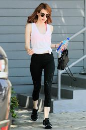 Emma Roberts in Leggings - Leaving Gym in West Hollywood 4/27/2016