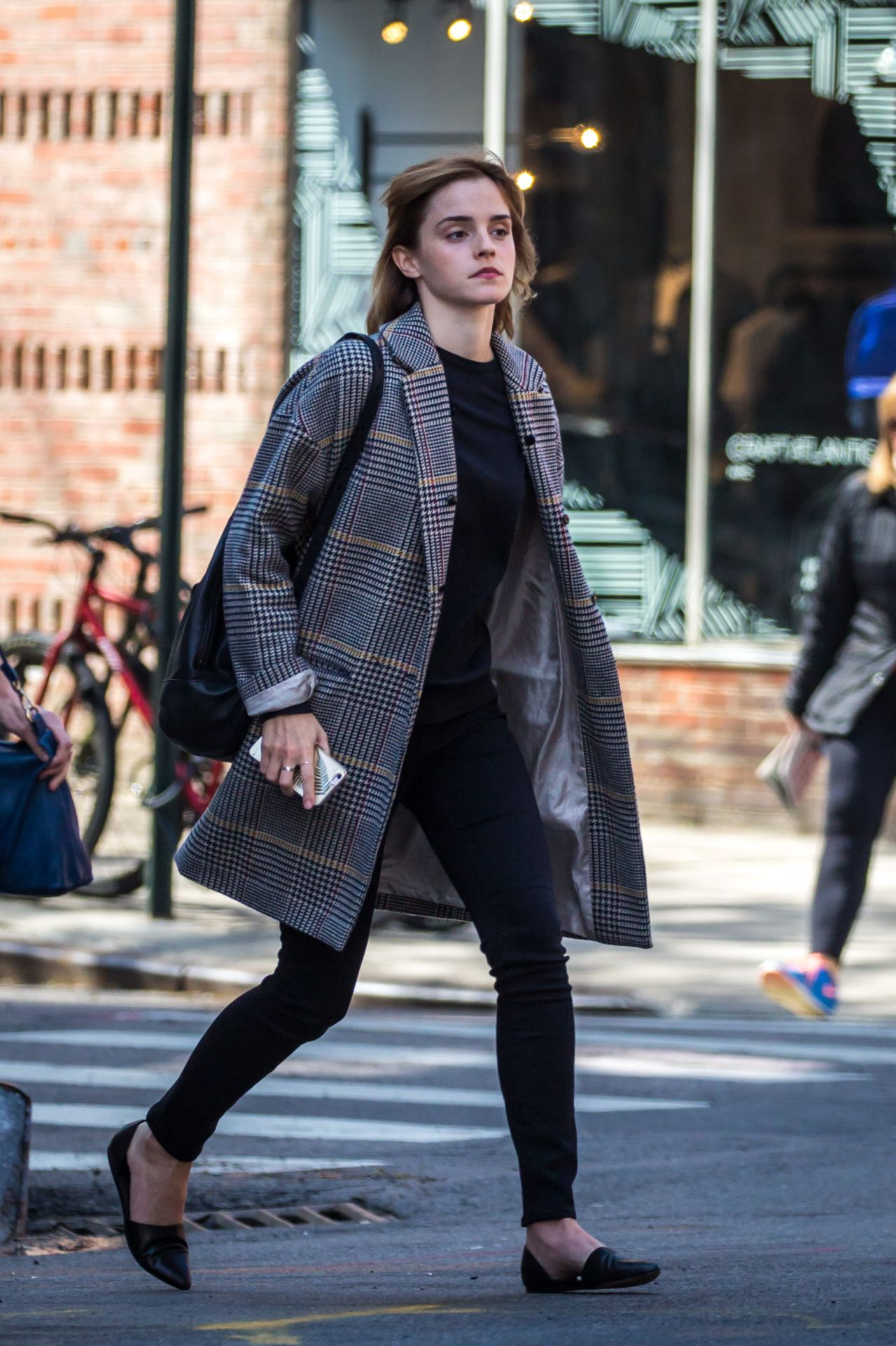 watson casual outfit - heading out from a restaurant in new york 4