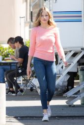 Halston Sage in Tight Jeans - on the Set of You Get Me in Los Angeles 4/23/2016