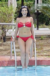 Imogen Townley in a Red Bikini - Enjoying the Sun on Holiday in Benidorm, Spain 3/30/2016