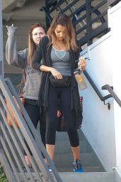 Jessica Alba in Leggings - Leaving the Gym in Los Angeles 4/3/2016