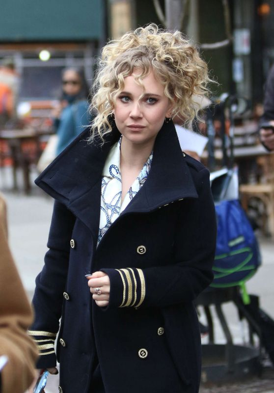 Juno Temple in Long Coat - Out in New York City, April 2016