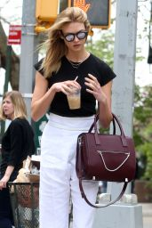 Karlie Kloss Outfit Ideas - Enjoying a Coffee and a Stroll Around New York City  4/25/2016