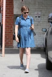 Kate Mara in Jeans Dress - Out in Los Angeles 4/6/2016