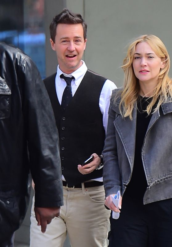 Kate Winslet and Ed Norton - Collateral Beauty Set in NYC, April 2016