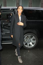 Kelly Rowland Looks Stylish in Black Coat and Braids - New York City 4/4/2016
