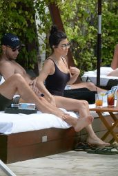 Kourtney Kardashian in a Swimsuit at a Pool in Miami Beach, FL 4/23/2016