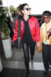Lily Aldridge in Tights - at LAX Airport in Los Angeles 4/7/2016