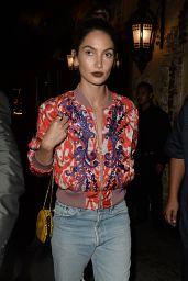 Lily Aldridge Night Out - at El Compadre in Los Angeles, CA 4/6/2016
