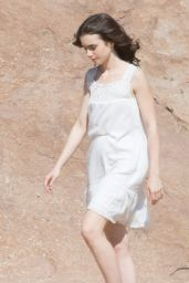 Lily Collins on Set for