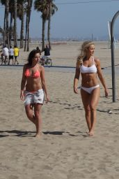 Louisa Lytton & Caroline Pearce in a Bikini - Santa Monica Beach 4/28/2016
