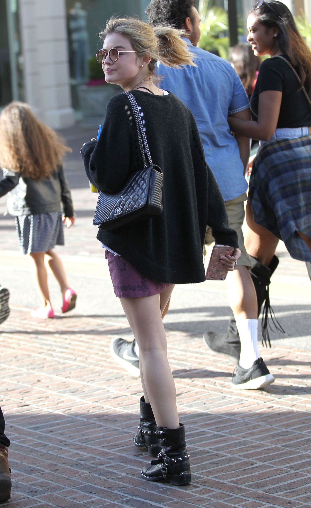 Hale Leggy in Mini Skirt - Shopping at The Grove in Los Angeles 3 ...