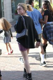 Lucy Hale Leggy in Mini Skirt - Shopping at The Grove in Los Angeles 3/31/2016