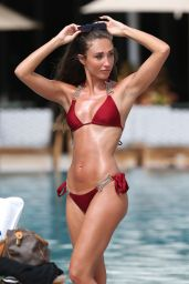 Megan McKenna Hot in Red Bikini - Miami, April 2016