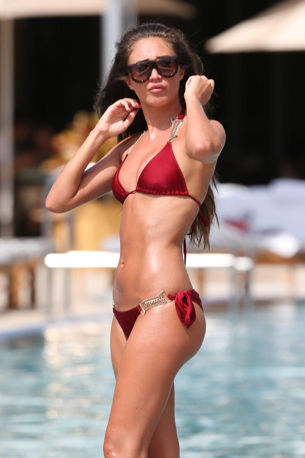 Megan McKenna Hot in Red Bikini - Miami, April 2016