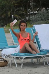Megan McKenna in a Swimsuit - Beach in Miami, April 2016