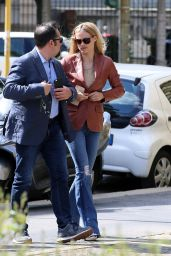 Michelle Hunziker - Walks With Her Bodyguard in Milan 4/18/2016