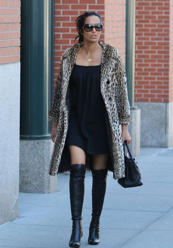 Padma Lakshmi Wearing a Little Black Dress and Knee High Boots in NYC 4/13/2016