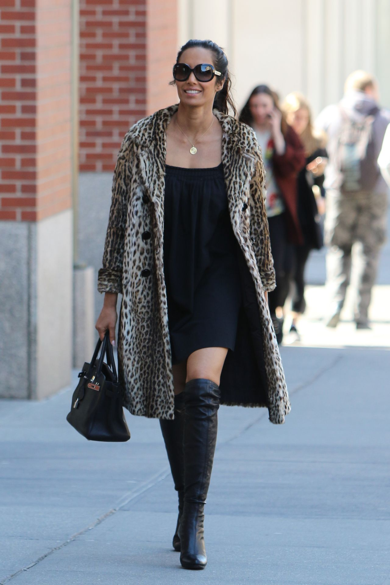 Lakshmi Wearing a Little Black Dress and Knee High Boots in NYC 4 ...