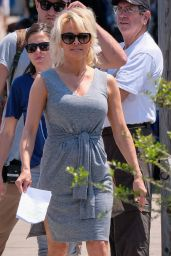 Pamela Anderson -Veteran of the Baywatch TV Series, Shows Up to the Set in Tybee, April 2016