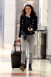 Rachel Weisz Travel Outfit - at JFK Airport in New York City, April 2016