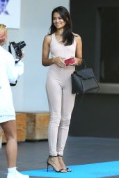 Shanina Shaik Wears a Bodysuit - Leaves a Hotel in Los Angeles, April 2016