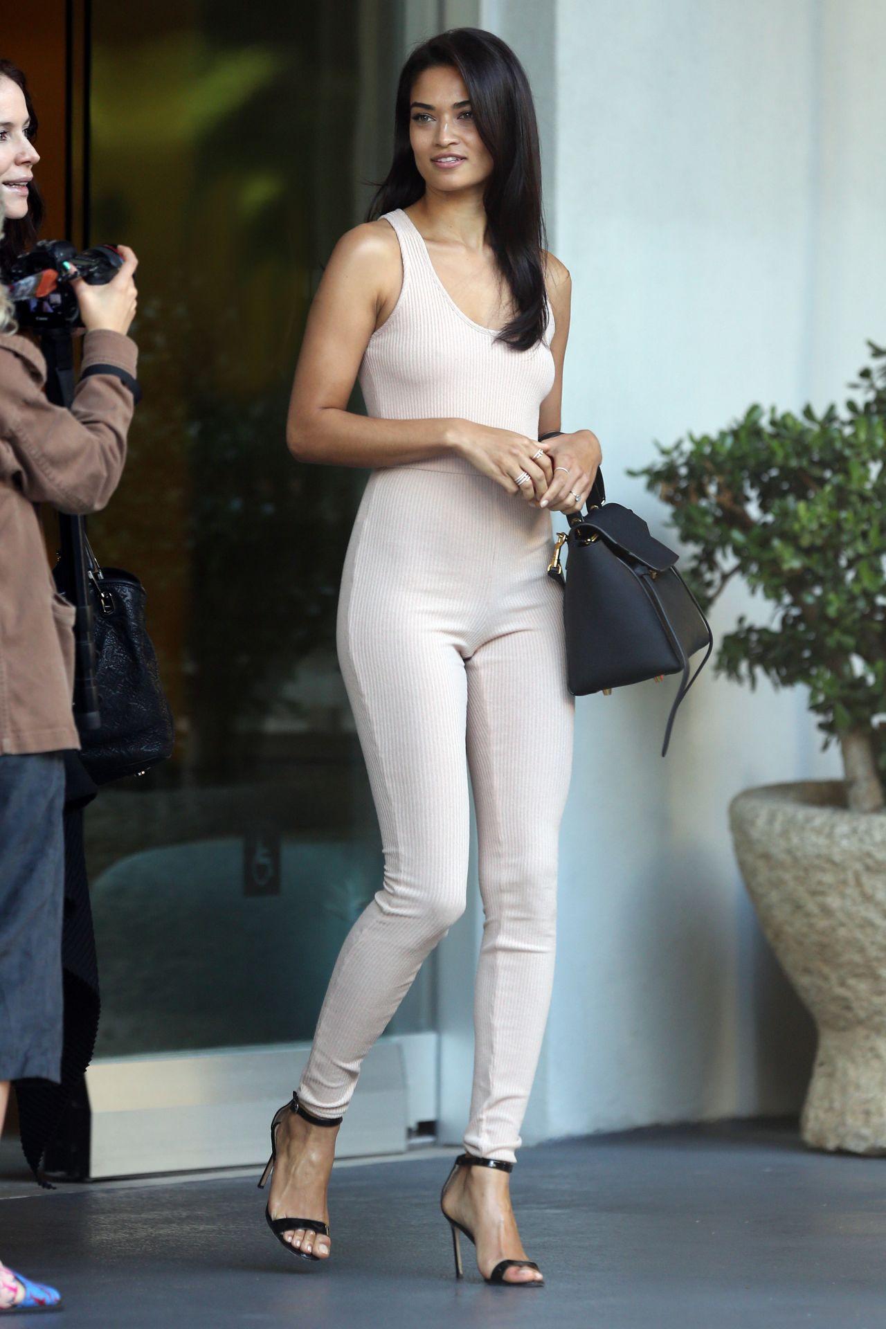 Shanina Shaik Wears a Bodysuit - Leaves a Hotel in Los Angeles, April 2016
