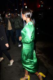 Solange Knowles - Rocks a Emerald Satin Wrap Dress and Yellow Platform Heels to Dinner at Sadelle