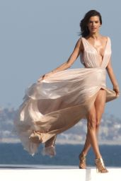 Alessandra Ambrosio Photoshoot - Wearing a Plunging Flowy Dress in Santa Monica 5/4/2016