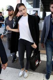 Barbara Palvin Travel Outfit - Airport in Cannes 5/16/2016
