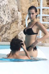Bella Hadid in a Black Bikini at a Pool in France 05/10/2016
