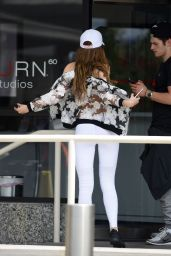 Bella Thorne in a Bra and Leggings Ensemble - Leaving a Gym in Brentwood, 5/15/2016