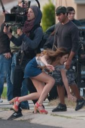 Bella Thorne in Mini Skirt On the Set of 'You Get Me' in LA 5/15/2016