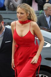 Blake Lively in Red Dress - Arrives at Palais des Festival in Cannes 5/11/2016